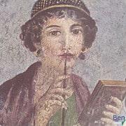 Mädchen mit Wachstafelbuch und Stilus (Quelle: Herculaneum)