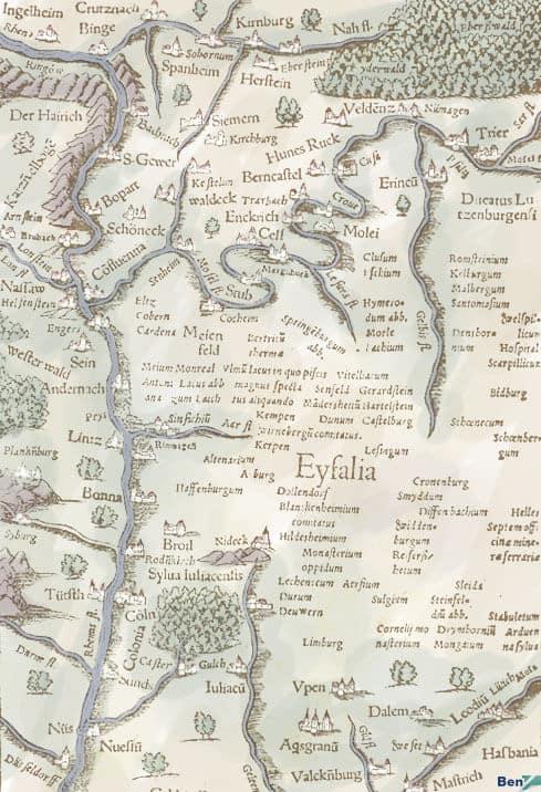 alte Karte Rheinland