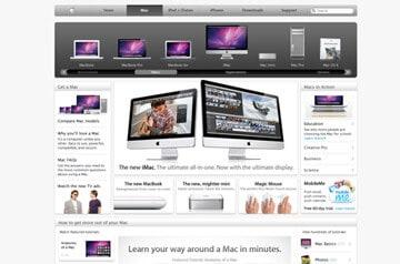 Weissräume und silberne Verläufe sorgen auf apple.com für schlichte Eleganz.