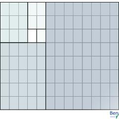 Ein Kachelmuster aus Quadraten, deren Kantenlängen der Fibonacci-Folge entsprechen.