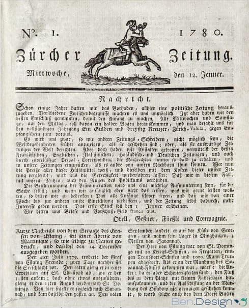 NZZ Erstausgabe Titelseite